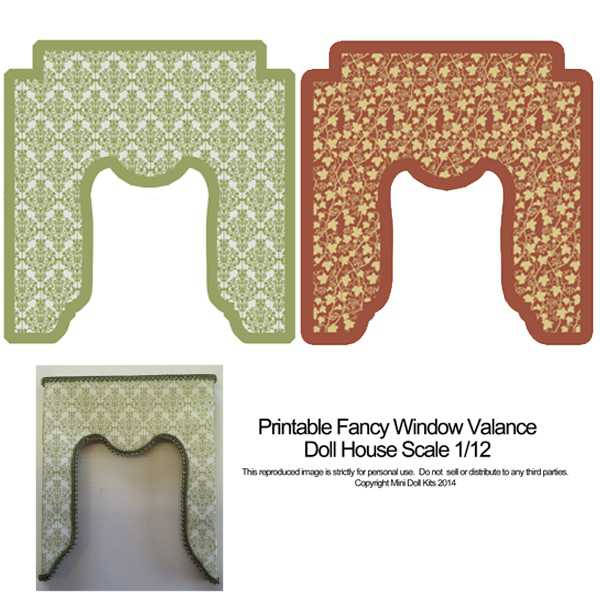 picture about Dollhouse Windows Printable identified as FancyWindow Valance Routine