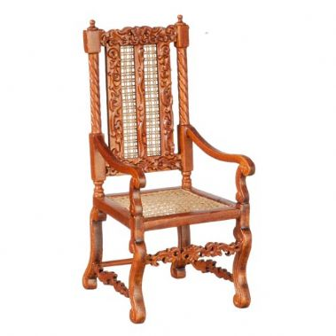 Cane Back Walnut Side Chair