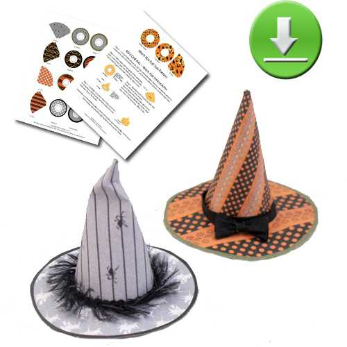 Downloadable 4 Spooky Witch Hat Printies