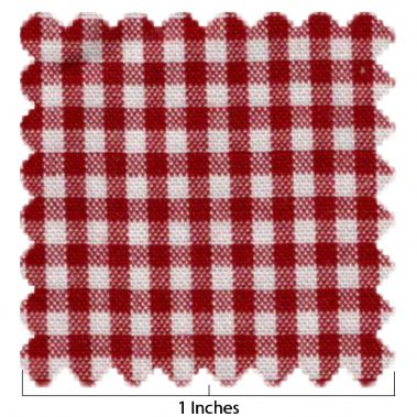 Cotton Red & White Larger Check Fabric