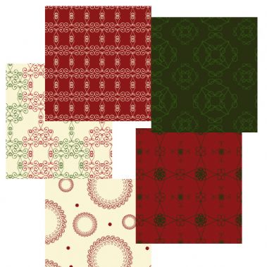 Christmas Paper and Printable Fabric 5 pack
