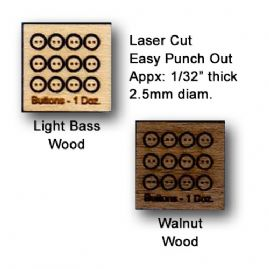 Tiny Two Hole Wood Buttons