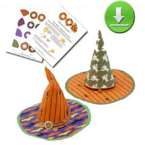 Downloadable 4 Vibrant Witch Hat Printies