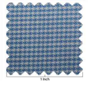 Cotton Medium Blue & White Mini Check