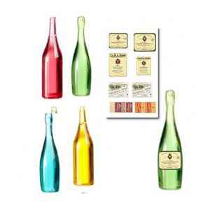 4 Wine Bottles and 6 Labels